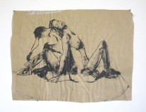 Sumi Figures on Brown Paper